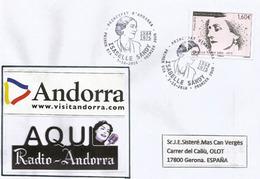 Isabelle Sandy, La VOIX De RADIO ANDORRA Dans Les Années 1960-1970, Lettre FDC Adressée Espagne - Télécom