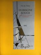 2087 - Suisse Valais Humagne Rouge 1992 Bujard - Etiquettes