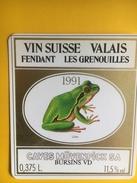 2104 - Suisse Valais Fendant Les Grenouilles 1991 Caves Mövenpick 0.375l Petite étiquette - Etiquettes
