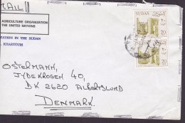 Sudan AGRICULTURE ORGANIZATION United Nations KHARTOUM 1988 Cover Brief ALBERTSLUND Denmark 2x Bohein Temple (2 Scans) - Sudan (1954-...)
