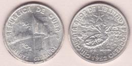1952-MN-105 CUBA. 1952. DEMAJAGUA. 20c SILVER 5gr. XF PLUS. BRILLO ORIGINAL. - Cuba