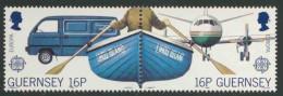 "Guernsey 1988 Mi 417 /18 Sc 381 /82 ** Bedford ""Rascal"" Mail Van + Rowing Boat / Postauto + Boot + Flugzeug –Europa Cept - Guernsey"