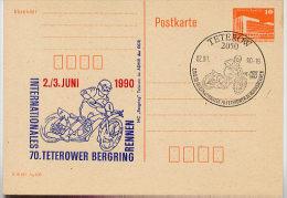 DDR P86II-7-90 C83 Postkarte Privater Zudruck MOTORRAD BERGRINGRENNEN Teterow Sost. 1990 - [6] República Democrática