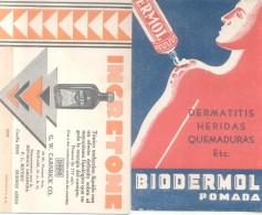 PAPEL SECANTE BLOTTER 2 DIFERENTES CIRCA 1950 ARGENTINE BIODERMOL E INGRETONE TONICO ENDOCRINO LIQUIDO G.W. CARNRICK CO.