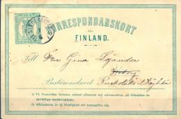 FINLANDIA 1871 , ENTERO POSTAL CIRCULADO ROALSTAD - WIBORG , MICHEL P1 , TIPO III - Briefe U. Dokumente