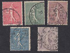 FRANCE Francia Frankreich - 1903,  Yvert 129/133, Semeuse, Série Complète Oblitérée. - 1903-60 Säerin, Untergrund Schraffiert