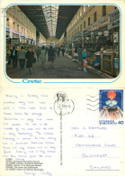 Chania Municipal Market, Crete, Greece Postcard Posted 1988 Stamp - Grèce