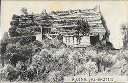 Illustration Non Signée: Ruine Falkeinstein - Felix Luib, Kunstverlagsanstalt - Carte Non Circulée - Pfronten
