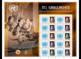 United Nations 2016 Sheetlets - M.S. Subbulakshmi