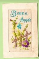 Barrière Fleurie Brodée Pour Une Bonne Année  - 2 Scans - Brodées