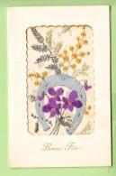 Magnifique FER à Cheval  Fleuri Et Brodé Pour Une Bonne Fête - Carte Qui S'ouvre -2 Scans - Brodées