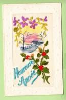 HOUX Et Violettes Brodées Sur Paysage Aquarellisé Et Pailleté Pour Une Heureuse Année  - Belle CPA En BE -2 Scans - Brodées