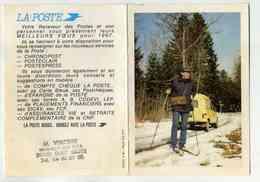 DOLE - CALENDRIER LA POSTE 1987 - FACTEUR AVEC SKIS ET RENAULT 4L - TAMPON DU RECEVEUR DE DOLE - Calendars
