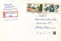 "K9401 - Czechoslovakia (1984) Horni Slavkov 3 (R-letter) Tariff 4 Kcs (stamp: 40 H Painter Kamil Lhotak ""Cycling"" 1910)"