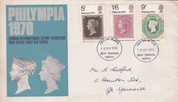 FDC  : Philympia 1970    / Yv. Nrs 599 - 601      Yv Nrs    /   18 Sept. 1970 - 1971-1980 Em. Décimales