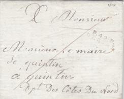"""1814 Lettre MP 24 X 8 Mm """"P.42.P. DERVAL"""" Loire Inférieure Pour Quintin Cotes Du Nord Cote 140€ Port Payé - Postmark Collection (Covers)"""
