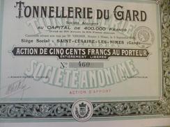 Action De 500F Agriculture Tonnellerie Du Gard Saint Césaire Les Mines  Tirage 800 1922 - Landbouw