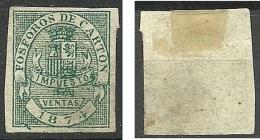 SPAIN Spanien Espana 1874 Fosforos De Carton Impuesto Ventas (*) - Fiscaux