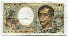 Billet De 200 F Montesquieu     PAS  De Trou D´épingle  1986 - 1962-1997 ''Francs''