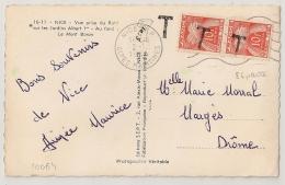 TAXE PAIRE N° 86 à 20f. NICE RP ALPES MARITIMES Pour Marges Drome. 2 - 12 - 1954. - Lettres Taxées