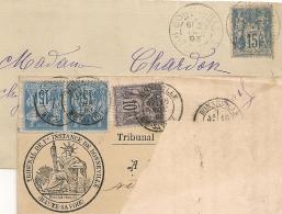 Avec  PAIRE 15C SAGE Bleu Sur Bleu, BONNEVILLE Haute Savoie Sur 2 Devants Au Type SAGE. - 1876-1898 Sage (Type II)