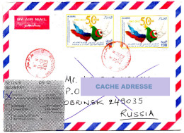 ALGERIA Circulated Letter 2013 - Return To Sender 50th Anniv. Diplomatic Relations With Russia Russie 2 Scans