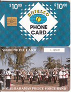 BAHAMAS ISL.(chip) - Royal Bahamas Police Force Band(BAH C6C), Medium Number In Box, Chip GEM1b, Used