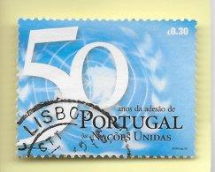 TIMBRES - STAMPS -  PORTUGAL (AÇORES) - 2005 -50 ANS DE L´ADHÉSION DE PORTUGAL AUPRÈS DES NATIONS UNIES -TIMBRE OBLITÉRÉ - Poste Aérienne