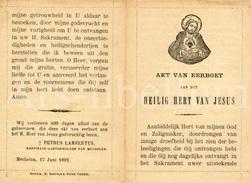 Devotieprentje / Akt Van Eerboet / Heilig Hart Van Jezus / Mechelen / 1892 / 2 Scans - Devotieprenten