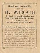 Devotieprentje / Gebed Van Voorbereiding / Heilige Missie / Antwerpen / 1906 / 2 Scans - Devotieprenten