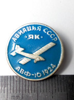 Airplane Glider Yakovlev AVF-10 Soviet Union Metal Badge Pin USSR Aviation Avia AEROFLOT Aluminium - Aviones