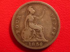 Grande-Bretagne - UK - 4 Pence 1854 - Fauté, Double 5, Double Die 2670 - 1816-1901 : Frappes XIX° S.