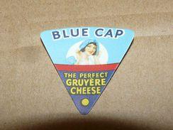 Cheese Queso Kase Label Etikette Etiqueta ~1920-1950 BLUE CAP GRUYERE - Quesos