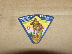 Cheese Queso Kase Label Etikette Etiqueta ~1920-1950 TELL BRAND LANGNAU SWITZERLAND - Quesos