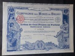 1 Cie Mines  Bruay 1939 Action + Coupons Dispo + TITRES Décorés - Aandelen