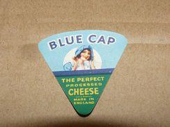 Cheese Queso Kase Label Etikette Etiqueta ~1920-1950 BLUE CAP ENGLAND PROCESSED - Quesos