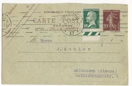1924 - CARTE ENTIER REPONSE TYPE SEMEUSE (+ PASTEUR) De BERLIN (ALLEMAGNE) Pour MULHOUSE (ALSACE)