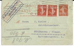 1922 - CARTE ENTIER REPONSE TYPE SEMEUSE De MÜNCHEN (ALLEMAGNE) Pour MULHOUSE (ALSACE)