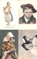EUROPEAN ETHNIC TYPES - FOUR OLD Postcards - Europe