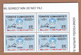 AC - TURKEY STAMP - 20th ANNIVERSARY OF THE SOUTH EASTERN EUROPE DEFENCE MINISTERIAL - SEDM - PROCESS MNH BLOCK OF FOUR - 1921-... Republic
