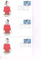 U.S.A. : Peanuts - Snoopy. 5 FDC. 2001. - Bandes Dessinées