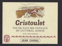 Etiquette De Vin De Pays Des Coteaux Du Littoral Audois - Cristoulet   - Jean Chenu  (11) - Unclassified