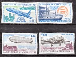 Saint Pierre Et Miquelon PA  64 67 Avions Zeppelin Dc3 Latécoère Hawker Neuf ** MNH Sin Charmela Faciale 4.57 - Flugzeuge