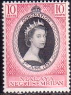 MALAYA NEGRI SEMBILAN 1953 SG #67 10c MNH Coronation - Negri Sembilan