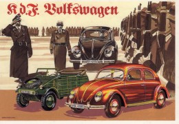 Kdf-Wagen  -  Volkswagen Maggiolino   -  1939   -  Illustrateur Aldo Brovarone  -  Carte Postale - Passenger Cars