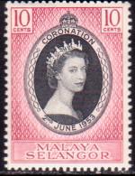 MALAYA SELANGOR 1953 SG #115 10c MNH Coronation - Selangor