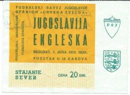 Sport Match Ticket (Football / Soccer) - Yugoslavia Vs England 1974-06-05 - Tickets - Vouchers