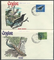 Ceylon   1966  Sc#374-5   5c Myna & 10c Peacock On FDCs - Sri Lanka (Ceylon) (1948-...)