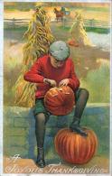MAKING JACK O'LANTERN OLD EMBOSSED THANKSGIVING Card - Thanksgiving