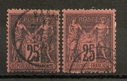 DEUX SAGE 25C NOIR S ROUGE. 2 NUANCES DIFFERENTES. Centrés . COTE : 55 EUR - 1876-1898 Sage (Type II)
